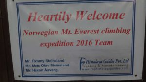 Norwegian Eventyrturer Mt Everest Climbing Expedition Team 2016