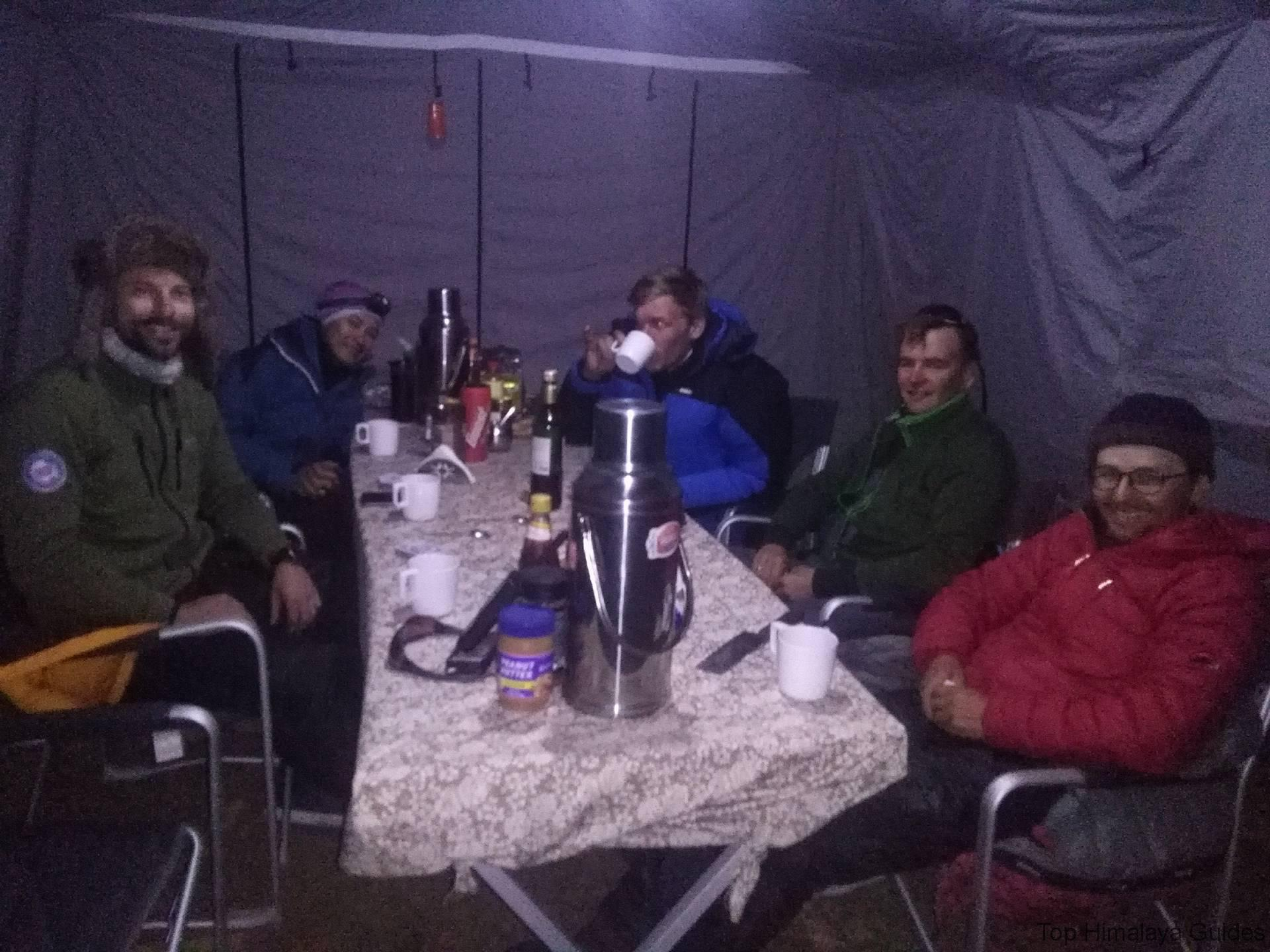 Top himalaya Guides Ama Dablam climbing expedition 2016 team are Enjoying wine at Ama Dablam base camp