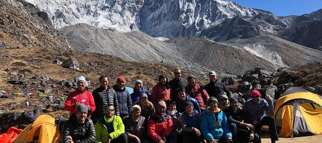 THG Himalaya Five Peaks with Technical Climbing Course + Mt. Ama Dablam Climbing expedition team leave to C1 from Ama Dablam BC. Summit planning on 15th November 2018